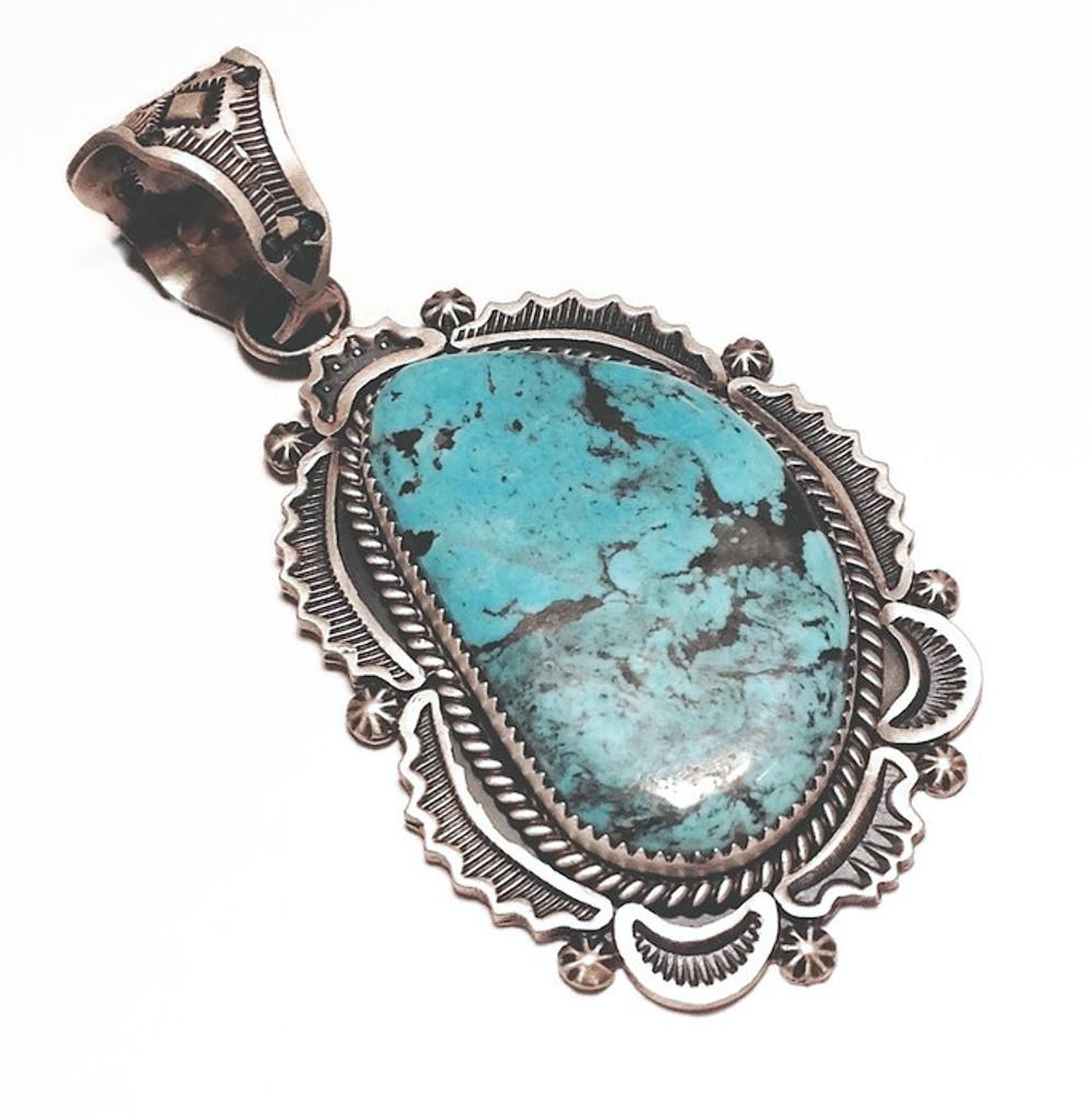 Harrison Joe Kingman Turquoise Hand Stamped Pendant