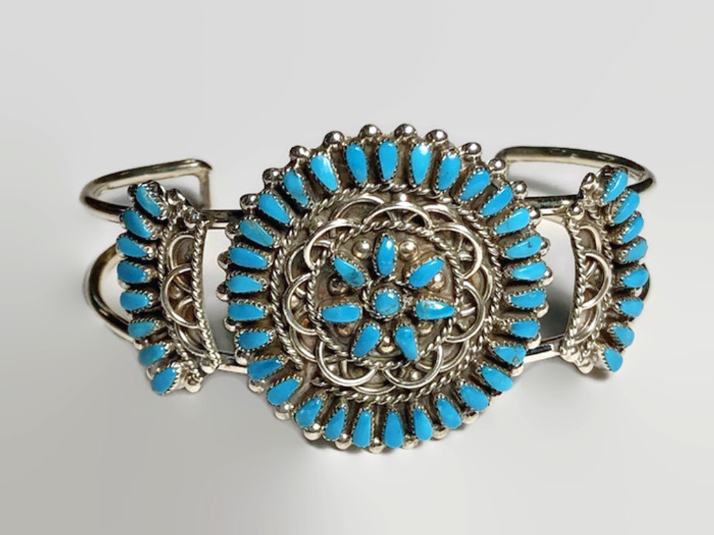 M. Dishta  Turquoise Zuni Inlay Cuff