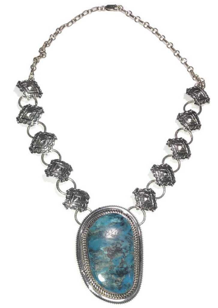 Turquoise Pendant Sterling Silver Hand Crafted Chain