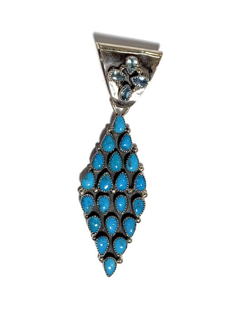 Turquoise and Blue Topaz Stone Rhombus Shape Sterling Silver 0.40 Oz.