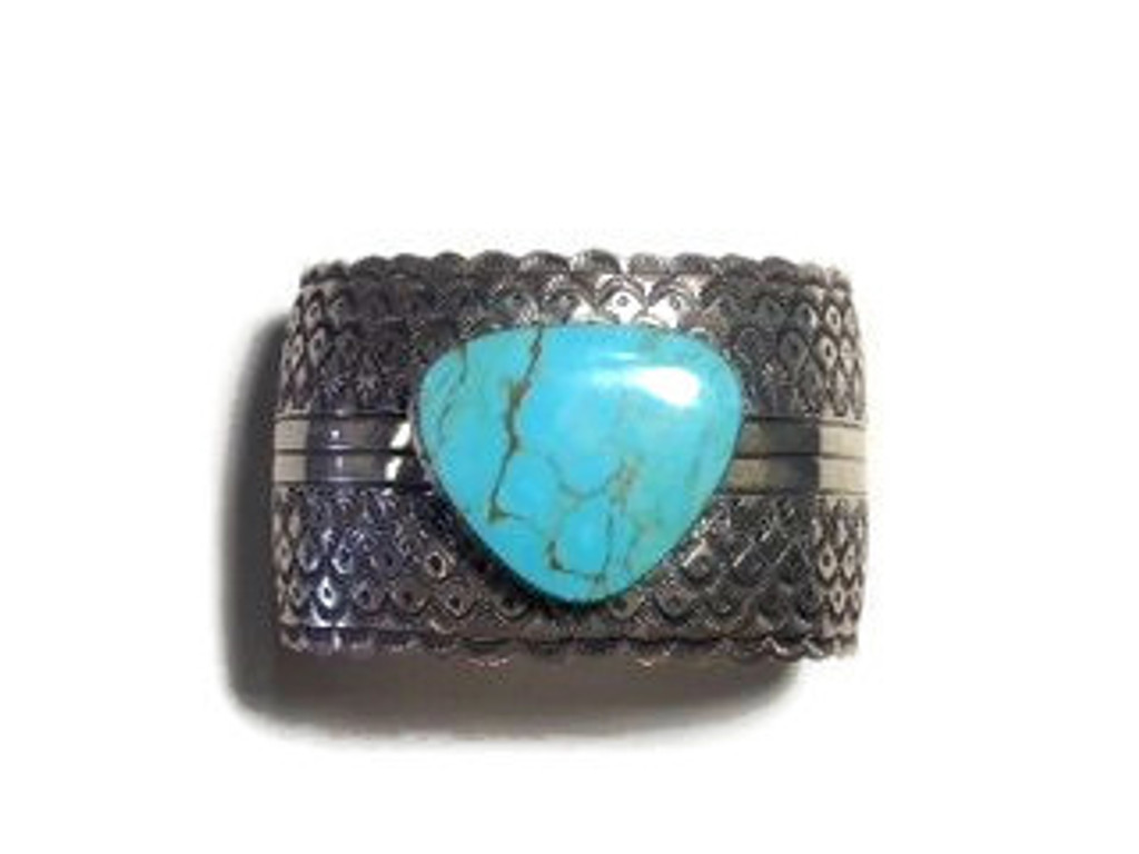 Kingman Turquoise   Matrix Stone  Silver Bracelet Cuff