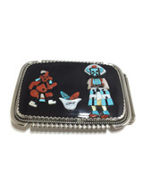 """Zuni made belt buckle with inlay stones.  The buckle is stamped """"Bev.Etsate Zuni NM""""."""