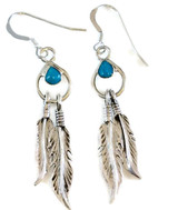 .925 Sterling Silver Pear Kingman Turquoise Dangle Earrings with Double Feathers French Wire Artist: Nora Desiderio