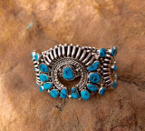 Turquoise & Sterling Cuff  Weight 1.90 oz