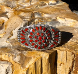Nora Tsosie Coral And Sterling Silver Cuff Bracelet Weight 1.38 oz
