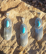Chaco Canyon Feather Turquoise Pendant