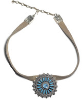 Turquoise Inlay Topaz Stone Leather Choker Sterling Silver