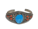 Coral And Turquoise Stone Sterling Silver Cuff