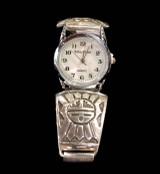 Silver Watch Band Sunface Design