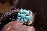 Chaco Canyon Flower Kingman Blue Turquoise Sterling Silver Cuff