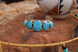 Chaco Canyon 5 Stone Kingman Turquoise Stamped Mens Cuff