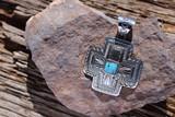 Kingman Turquoise Cross Pendant Navajo Artist Nate Begay
