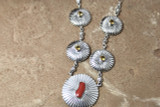 Chaco Canyon Concho Coral and Cetrine Sterling Silver Necklace