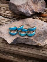 Zuni Artist Milton Canteena Sleeping Beauty Turquoise Inlaid Ring