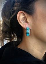Zuni Sleeping Beauty Inlaid Needlepoint Earrings Artist Benard Perne