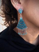 Zuni Sleeping Beauty Inlaid Chandelier Earrings Artist Bernadette Wyaco