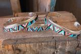 Chaco Canyon Zuni Multi Inlay Stone Cuff Artists Rydell & Lynette Yuselew