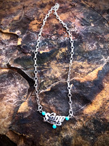 Navajo Hand Etched Name Kingman Turquoise Necklaces Artist Michael Yazzie