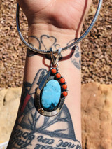 Kingman Turquoise and Coral Combination Pendant