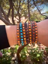 Chaco Canyon Red, Purple, Orange and Sleeping Beauty Turquoise 21 Row Cuff