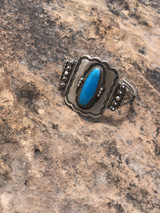 Stunning Kingman turquoise  traditional stamped cuff