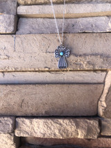 Stamped Cross Pendant with Sleeping Beauty Turquoise