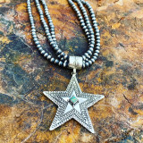 Hand stamped by the talented Jeremy Delgarito! Inlaid in your choice of Kingman blue turquoise or green ceremonial turquoise! Beads sold separate.