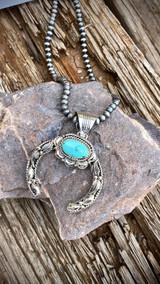 Hand Stamped Silver Nevada Turquoise Pendant Navajo Artist Emerson Delgarito