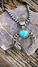 Hand Stamped Moon Nevada Turquoise Pendant Navajo Artist Emerson Delgarito