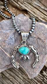 Hand Stamped Nevada Turquoise Pendant Navajo Artist Emerson Delgarito