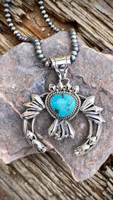 Hand Stamped Diamond Nevada Turquoise Pendant Navajo Artist Emerson Delgarito