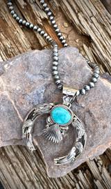 Hand Stamped Fan Nevada Turquoise Pendant Navajo Artist Emerson Delgarito