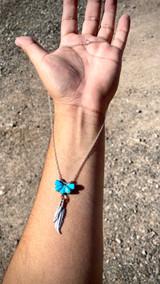 "Zuni Half Flower Feather Necklace 18"" Artist Floria Shetima"