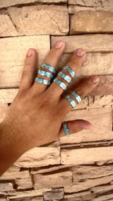 Zig Zag Kingman Turquoise Rings Zuni Tribe