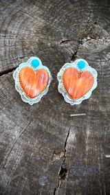 Multi Color Stamped Heart Earrings