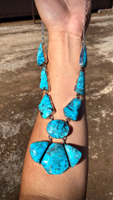 Kingman Turquoise Stamped Freeform Necklace Navajo Artist Emerson Delgarito