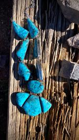 Kingman Turquoise Stamped Freeform Necklace Navajo Artist Emerson Delgarito