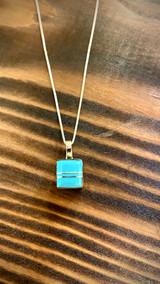 Zuni Inlaid Square Pendant w/ Chain -Terrance Panteah-