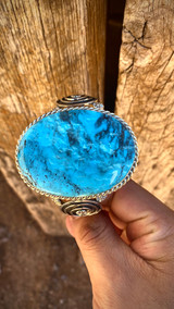 Double Swirl Oval Kingman Turquoise Cuff