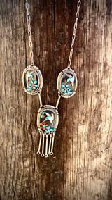 Vintage*** Humming Bird Inlay Necklace Multstone