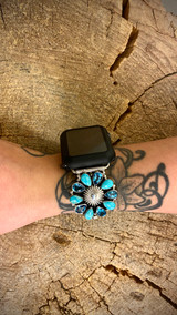 Chaco Canyon Concho Cluster Turquoise and Topaz Watch