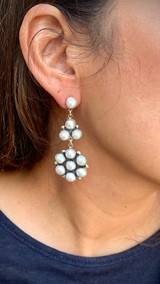 My! Oh! My! Round Shell Cluster Drop Earrings