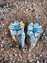 Vintage sleeping beauty flower arrow drop earrings