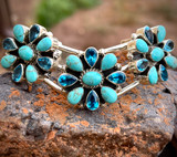 The Chevron Cluster Cuff with Kingman and Swiss Blue Topaz