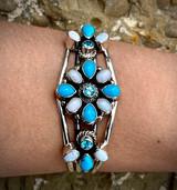 Sleeping  Beauty, Australian Opal, Swiss Blue Topaz Loretta Cluster Cuff