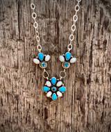 Sleeping Beauty, Australian Opal, Swiss Blue Topaz Lorreta Cluster Necklace