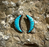 Vintage Zuni Half Moon Clip-On Earrings
