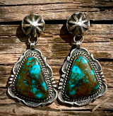 Vintage Stamped Earrings With High Grade Nevada Turquoise