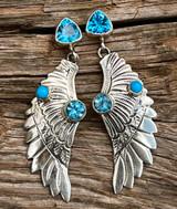 Swiss Blue Topaz and Sleeping Beauty Angel Wings Earrings