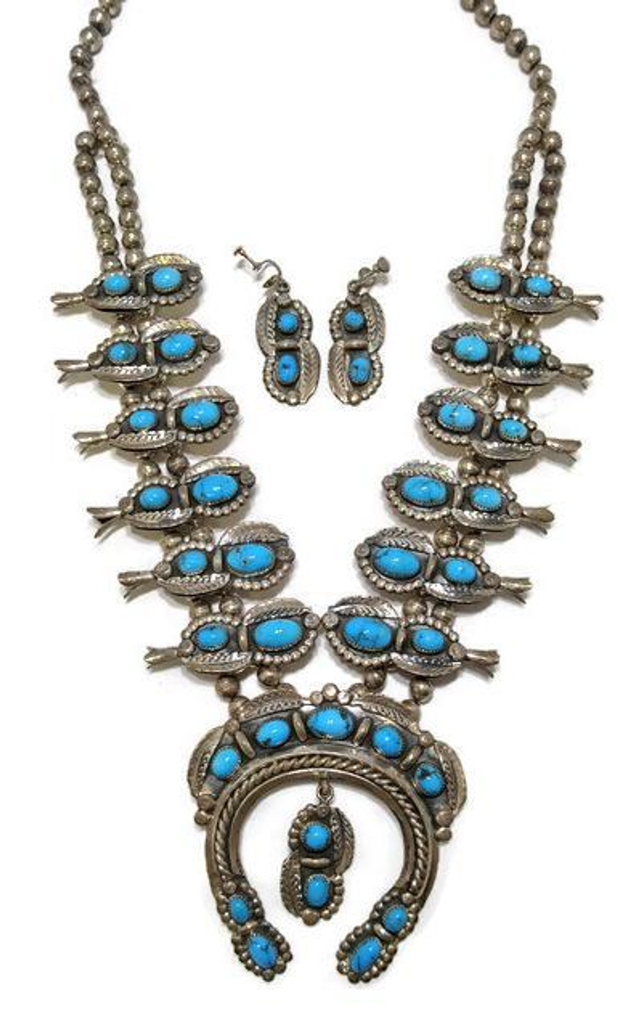 86e1574a2 Navajo old pawn squash blossom necklace with a makers mark of